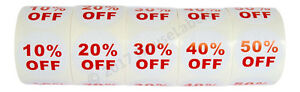 10 Sets 50 Rolls Of Discount Labels 10 50 Off 500 Lbls ea 2 5 Bpa Free