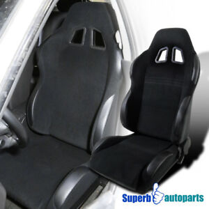 Left Driver Side Black Pvc Leather Gt Reclinable Buckle Racing Seat W Slider