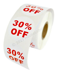 20 Rolls Of 30 Off Discount Labels 500 Labels roll 2 5 Diameter Bpa Free