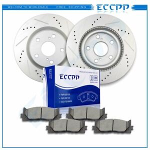 Front Drill Slot Brake Rotors Ceramic Pads For Lexus Es300h Toyota Avalon Camry