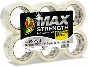 Duck Max Packaging Tape 1 88 X 54 6 Yds 3 Core Crystal Clear 6 pack