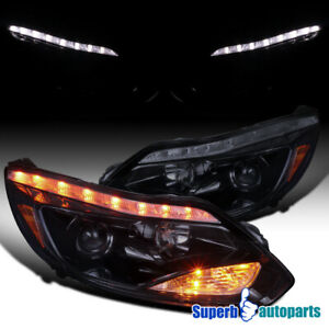For 2012 2014 Ford Focus Led Signal Smoked Projector Headlights Glossy Black