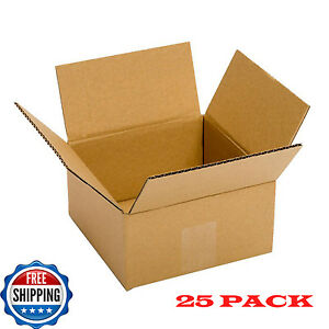 Small Cardboard Boxes 25 pack 6lx 6wx 4h Packing Shipping Delivery Corrugated