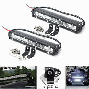 2pcs 18w 6inch Led Work Light Bar Flood Driving Fog Light Off Road Suv Truck