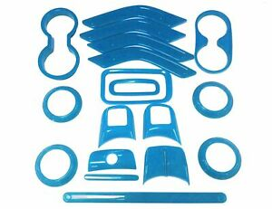 Light Blue18pc Interior Sticker Trim Kit Handle Cover For Jeep Wrangler 11 2017