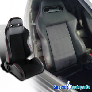 Sport Style Suede Leather Red Stitching Racing Seat Black Passenger Right Side