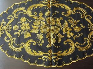 Beautiful Antique Silk Hand Embroidered Tulle Tablecloth In Black Yellow Colors