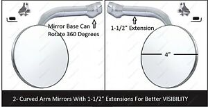4 Extended Arm Chrome Peep Mirrors Clamp On Pair Rearview Exterior Ford Pair