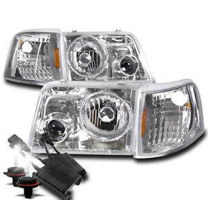 93 97 Ford Ranger Chrome Head Light projector Fog Lamp W corner 50w 8k Xenon Hid