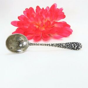 Vintage Sterling Silver Stieff Condiment Jar Small Ladle Spoon Rose Repousse