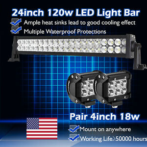 24inch Led Work Light Bar Spot Flood Combo 4 Cree Pods Truck Offroad 4x4 20