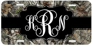 Personalized Monogrammed License Plate Auto Car Tag Camo Camouflage White