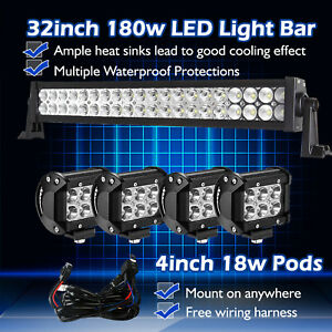 32inch 30 Led Light Bar Spot Flood Combo 4 Cree Pods Fog 4x4 Suv Jeep Ute 20