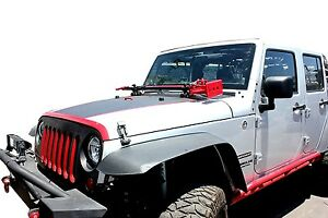 Jeep Wrangler 07 13 Jk Hood Hinge Hi lift Jack Mount And Handle Strap_5