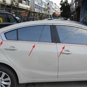 Stainless Steel Side Window Sills Moulding Cover For Kia Cerato Forte 2013 2014