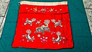 Antique Chinese Gold Stitches Silk Embroidery Panel With 5 Foo Lions On Red Silk