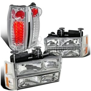 1994 1998 Gmc Sierra Chrome Clear Headlights Bumper Lights led Tail Lights amber