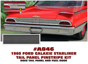 A846 1960 Ford Galaxie Tail Panel Pinstripe Decal Insert Kit