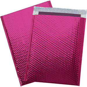 1000 000 Glamor Metallic Pink Poly Bubble Mailers Envelopes Bags 4x8 Extra Wide