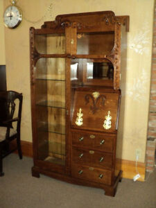 Antique Oak Side By Side Secretary Bookcase Display Cabinet W Brass Straps