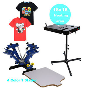 4 Color 1 Station Silk Screen Printing Machine Flash Dryer 18 X 18 Drying