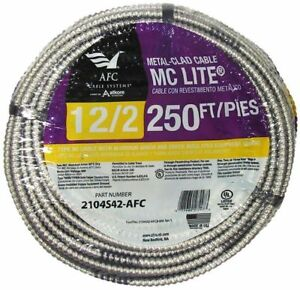 Afc Aluminum Mc Light Armored Cable 250 Ft 12 2 Solid Copper Electrical Wiring