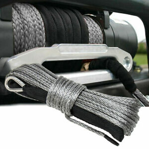 50ft 8mm 1 4 Nylon Synthetic Winch Line Cable Rope Fits Most Car Atv Utv Gray