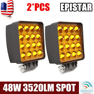 5d 2x 48w Spot Square Led Light Bar Driving Fog Suv 4wd Ute Boat Offroad Amber