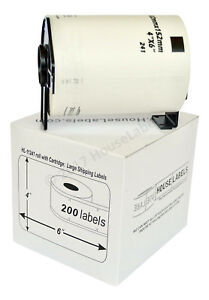 6 Rolls Of Dk 1241 Brother compatible Shipping Labels With Permanent Cartridge