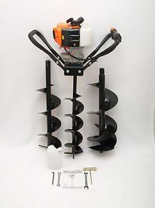 Hand held Post Hole Digger earth Auger W 6 8 10 Bits 43cc 1 75hp Gas Engine