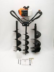Hand held Post Hole Digger earth Auger W 4 6 8 Bits 43cc 1 75hp Gas Engine