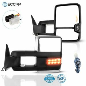 For 1988 1998 Gmc 1500 3500 Pair Power Chrome Led Clearance Signals Tow Mirrors