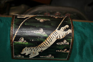 Vintage Hand Painted Wood Trinket Box Painted Tigers Gazelle Round Top Small