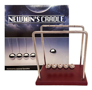 Classic Newton s Cradle Extra Large 7 1 4 Inch Dark Brown Wooden Base Balance