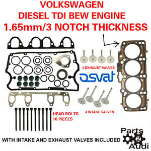 3 Notch Cylinder Oe Head Gasket Set With Bolts And Valves Vw Diesel 1 9 Bew Eng