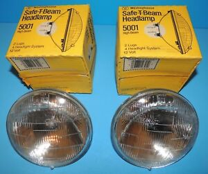 Westinghouse 5001 Sealed Safe T Beam Headlamp Headlight 12v High Beam 2 Each
