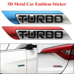 3d Metal Turbo Logo Car Body Fender Emblem Badge Decal Sticker For Honda Nissan