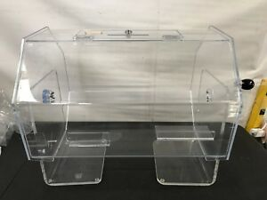 Clear Acrylic Spinning Raffle Drum With Locking Door Countertop 21 6 X 18 8