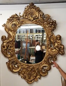 Huge Antique Hand Carved Italian Gold Gilt Mirror With Putti