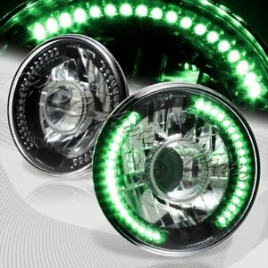 7 Round H6024 H6017 Green Led Sealed Beam Black Housing Projector Headlights
