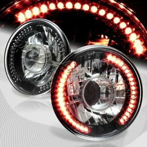 7 Round H6024 H6017 Red Led Sealed Beam Black Housing Projector Headlights Lamp