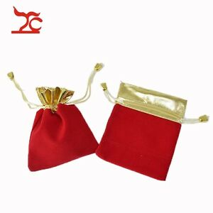 100 Pcs Red Velvet Gift Bags Accessories Pouches Jewelry Display Store Supply
