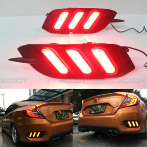 2016 2017 Red Y Led Reflector Rear Bumper Tail Light Brake Lamp For Honda Civic