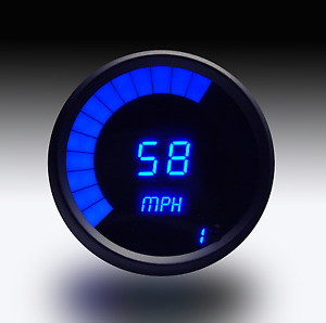 3 3 8 Universal Digital Memory Speedometer Blue Led Gauge Black Bezel Usa Made