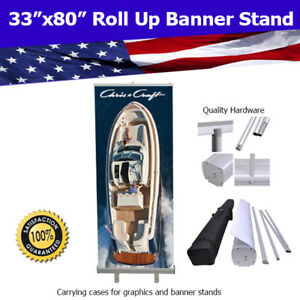 Aluminum 33 x80 Retractable Roll Up Banner Stand Trade Show Free Shipping
