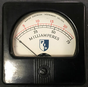 Marion Elec Inst Current Meter Dual Scale 25ma 75ma simpson Weston