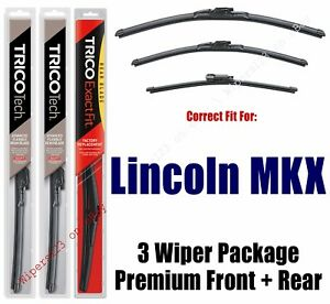 Wipers 3pk Premium Beam Blade Front rear Fits 2016 Lincoln Mkx 19240 180 11g
