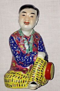 Antique Chinese Famille Figurine Early 20th Century Man With Drum Signed Rare