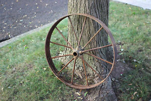 Antique Wagon Buggy Automobile Wheel 12 Spoke Iron 25 3 4 Tall 2 Country Decor