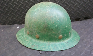 Vintage Green Full Brim Super Glas Fibre Metal Hard Hat Chester Pa Usa Superglas